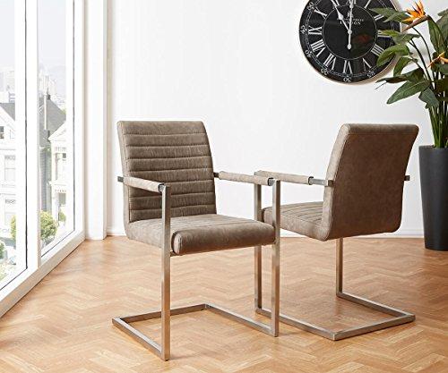 Küchenstuhl Earnest Vintage Freischwinger Design Stuhl (Taupe, Gestell Edelstahl)