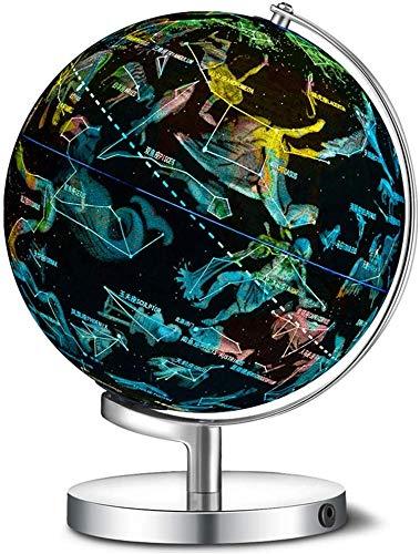 Globo del Mundo Iluminado para niños,3 en 1 World Globe Dispiay Nightlight,Globo terráqueo con Soporte para niños | Lámpara de luz Nocturna LED,Mapa político y constelación,A,20 cm/8 Pulgadas
