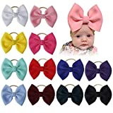 inSowni 12 Pack Big Large Solid Bow Super Stretchy Nylon Headbands Hair Accessories for Baby Girls Toddlers Newborns Infants Kids Teens, White, Yellow, Mint Green, Sky Blue, Pink, Rose Pink, Red, Burgundy, Royal Blue, Purple, Dark Green