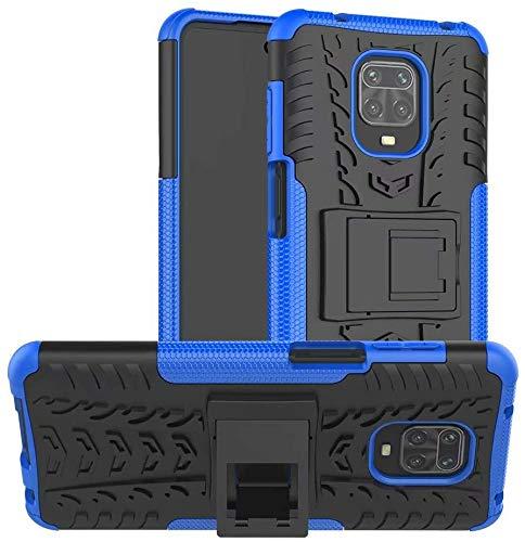 """Capa Capinha Anti Impacto Para Xiaomi Redmi Note 9 com Tela de 6.53"""" polegadas Case Armadura Hybrid Reforçada Com Desenho De Pneu - Danet (Preto com Azul)"""