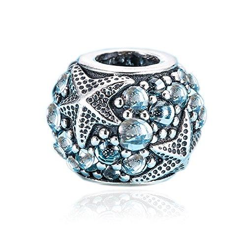 Funshopp europea estate blu Oceanic Starfish ciondoli charm in argento 925con zirconi DIY perline adatto per braccialetti Pandora gioielli