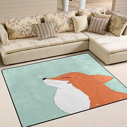Use7 Teppich mit Cartoon-Fuchs-Motiv, für Wohnzimmer, Schlafzimmer, 160 x 122 cm