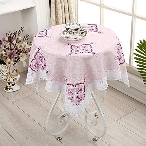 Pastorale Tafelkleed Borduur Vierkante Tafelkleed Met Kant Salontafel Doek Decoratie 90X90Cm