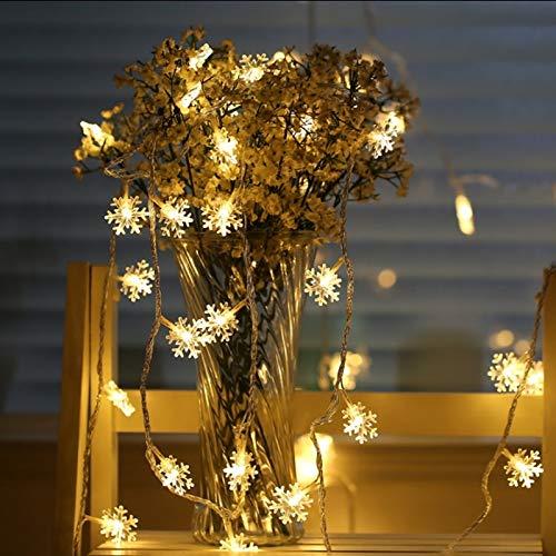 Guirlande lumineuse à LED Guirlandes lumineuses de Noël, lumières de Noël, lumières de flocon de neige, pour la décoration d'arbre de Noël Guirlande lumineuse Batterie 6m60 LED