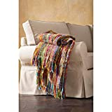 ART & ARTIFACT Fringe Throw Blanket - Chunky Knit Decorative Warm Acrylic Afghan - 48' x 70' - Bright Striped Colors