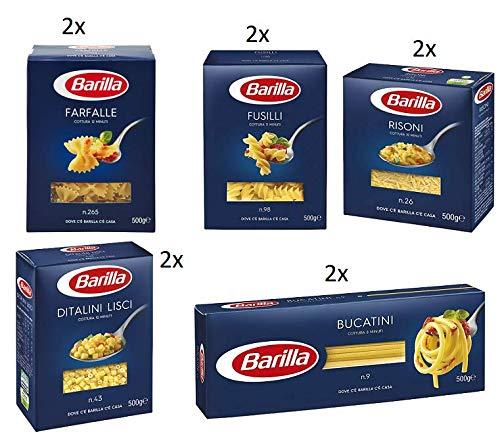 TESTPAKET Pasta Barilla italienisch ( 10 x 500g ) 5 Arten von Nudeln (Bucatini-Fusilli-Risoni-Ditalini Lisci-Farfalle)