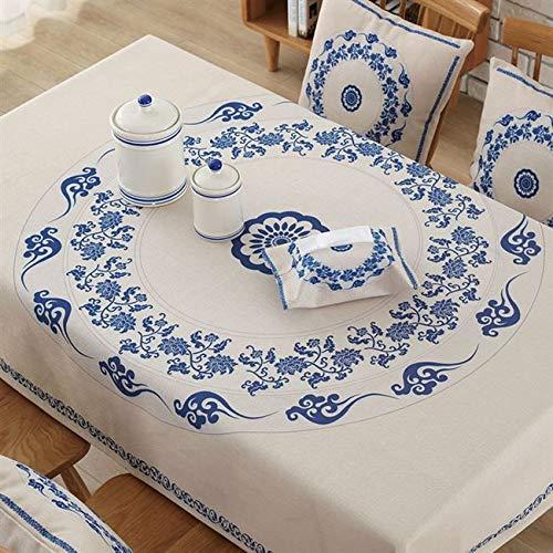 Nappe rectangulaire en Coton Lin Nappe de Table à Manger étanche pour Salon décor Nappe A18 140x140 cm