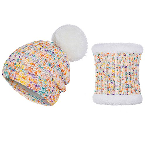 ECYC® Fashion Pom Pom Femmes Hiver Chapeau ÉCharpe Ensemble Filles Chaud Collar Tricoté Beanie Foulards, Blanc