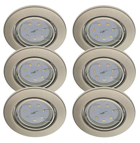 Trango 6er Set Einbaustrahler in Rund Edelstahl-Look TG6729-062M3-12V incl. 6x 3W LED Modul 12Volt AC/DC nur 3cm Einbautiefe zum Ersetzen 12Volt MR16 & G4 Halogen Leuchtmittel