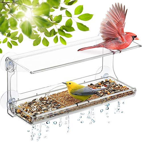 DF OMER Weatherproof Polycarbonat Window Bird Feeder with Strong Suction Cups Drainage Holes product image
