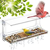 DF OMER Weatherproof Polycarbonat Window Bird Feeder with Strong Suction Cups, Drainage Holes, and 3-Sectioned Removable Tray 11.6x4.3x5.7 in. Bird Watching Gifts for Up-Close, Indoor Bird Watching