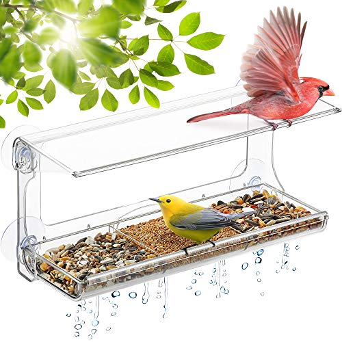 DF OMER Weatherproof Polycarbonat Window Bird Feeder with Strong Suction Cups Drainage Holes and 3Sectioned Removable Tray 116x43x57 in Bird Watching Gifts for UpClose Indoor Bird Watching