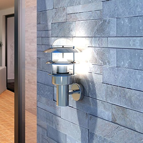Zora Walter Patio – Lámpara LED de Pared Acero Inoxidable Exterior Lámpara gluhlampe Aplique keiner Motion Sensor, Medidas: 180 x 200 x 285 mm