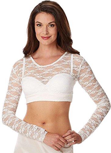 Unbekannt Damen FLORAL Spitze Langarmshirt Spitzenshirt - Weiss - M - INTHERMAX©