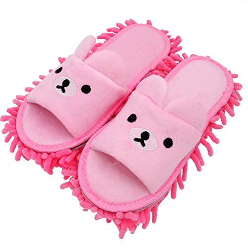 Selric Bear Image Chenille Microfiber Washable Mop Slippers