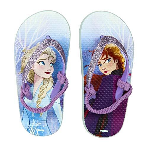 Disney La Reine des neiges 2 – Tongs Flip Flop, pantoufles mer piscine – Produit original avec licence officielle - Bleu - bleu, 32/33 EU EU