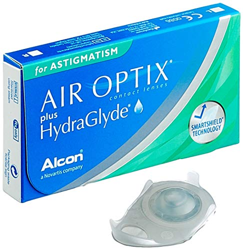 Alcon Air Optix plus HydraGlyde for Astigmatism Monatslinsen weich, 3 Stück / BC 8.7 mm / DIA 14.5 mm / CYL -0.75 / ACHSE 180 / +0.25 Dioptrien