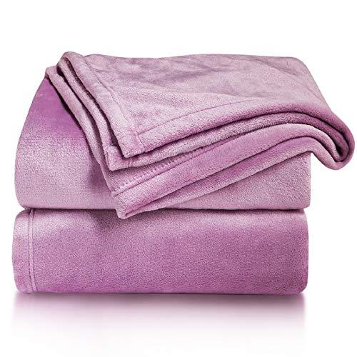 Bedsure Manta para Sofás de Franela 150x200cm - Manta para Cama 90 Reversible de 100% Microfibre Extra Suave - Manta Lila Transpirable