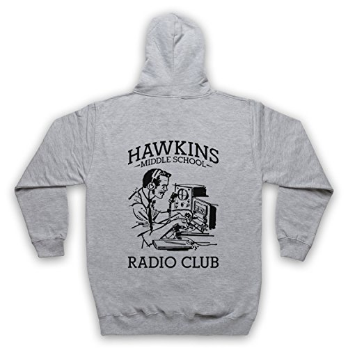 Stranger Things Hawkins Middle School Radio Club Sweat a Capuche avec Un Fermeture Eclair des Adultes, Gris, Medium