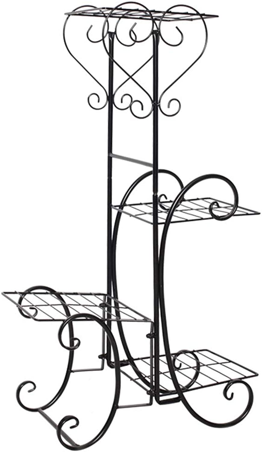 Wrought Iron Plant Stand Four-Layer Shelves for Indoor and Outdoor Flower Pots Floor-Stand is Suitable for A Variety of Plants