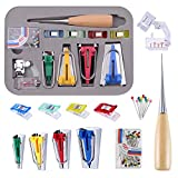 Bias Tape Maker Kit, Sewing DIY Collage Quilting Binding Tool Set with 4 Adjustable Binder Clips, 1 Sewing Awl, 1 Foot Press & 50 Needles