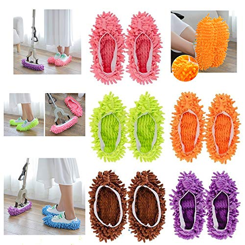 F-BBKO Mop Slippers Shoes Cover 10pcs (5 Pairs) Soft Washable Reusable Microfiber Foot Socks,Floor Dust Dirt Hair Cleaner for Bathroom Office Kitchen House Polishing Cleaning