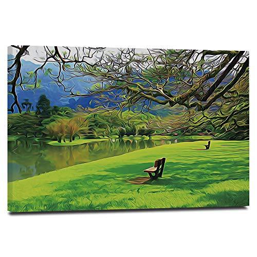 HUAYIJIE Nature Pictures - Póster decorativo para pared (40,6 x 30,5 cm), diseño de paisaje idílico del jardín del lago público en el parque asiático