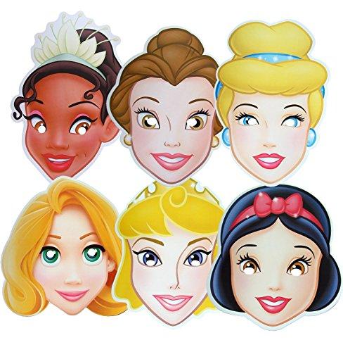 Princesse Disney - Multipack - 6 Masques de Costume différents en Carte Rigide - Produit Disney Officiel