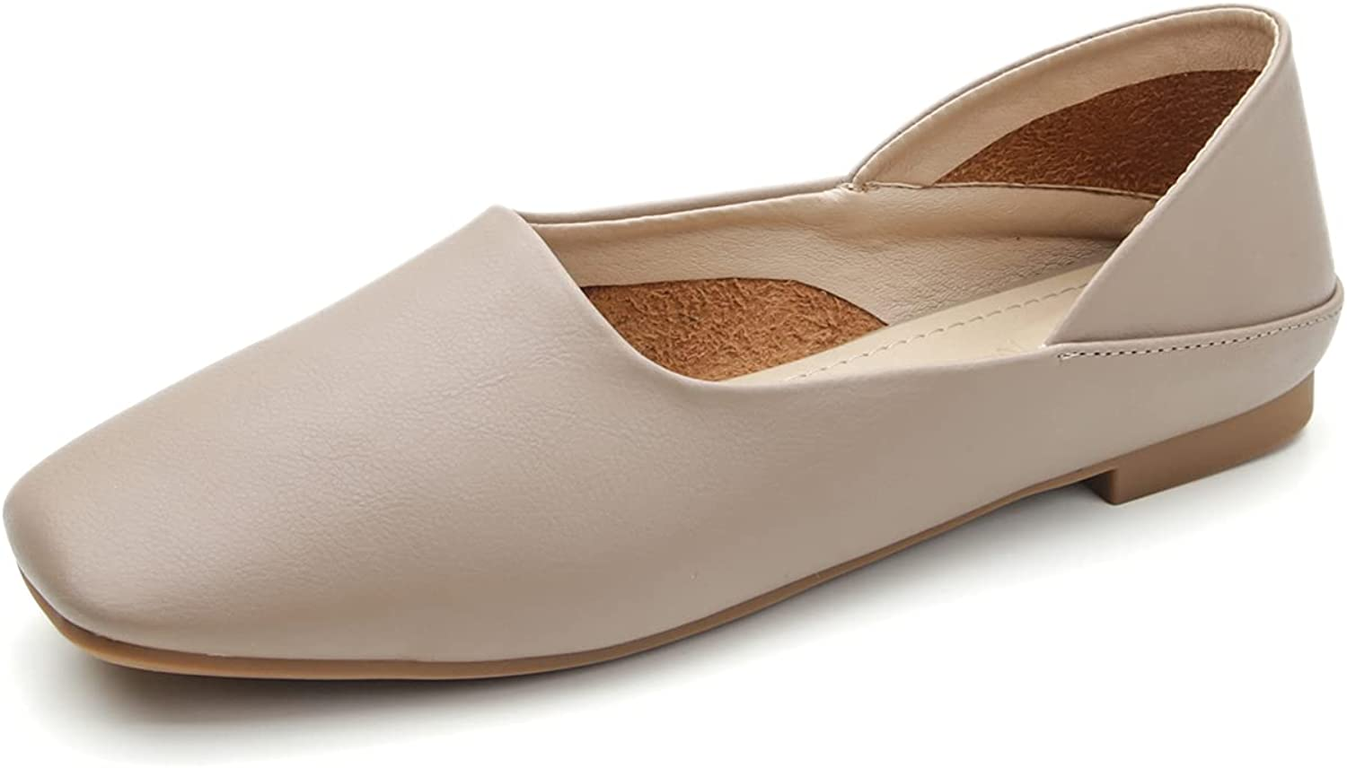 EnllerviiD Women's Flat Casual Comfortable Loafers Square Toe Slip On Leather Shoes