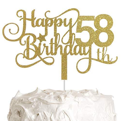 ALPHA K GG 58th Birthday Cake Topper, Happy 58th Birthday Cake Topper, 58th Birthday Party Decorations