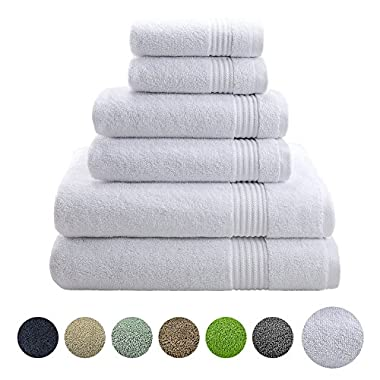 Hotel & Spa Quality, Absorbent and Soft Decorative Kitchen and Bathroom Sets, 100% Genuine Cotton, 6 Piece Turkish Towel Set, Includes 2 Bath Towels, 2 Hand Towels, 2 Washcloths, Snow White