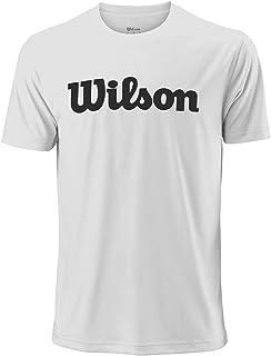 WILSON Men's Short-Sleeved Tennis T-Shirt, M Uwii Script Tech Tee, Polyester, Blue (Blue Depths)/White, Size S