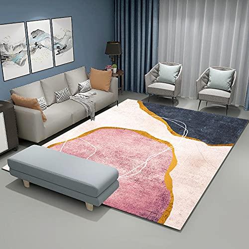 Kunsen Lekmatta mattor rosa beige mörkblå gyllene bänk abstrakt mönster enkel stil kan tvättas i maskin sovrumsmatta korta mattor 120 x 200 cm