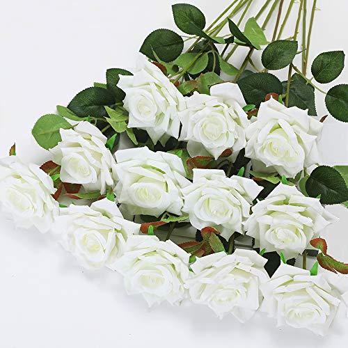 Floweroyal 12 Stück Künstliche Rosen Samtblumen mit Langen Stielen Gefälschte Rose Blühen Brautstrauß für Home Office Hochzeitsfeier Hotel Dekor (Weiß).