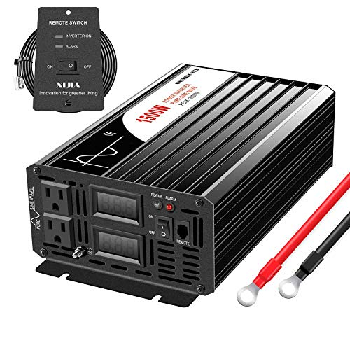 Xijia 1500W (Peak Power 3000W) Pure Sine Wave Inverter DC 24V to AC 120V 60HZ Solar Converter for Home Use car (DC24V (Range 20V-30V) 1500W)