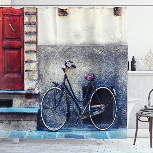 Cortina de ducha de bicicleta Vintage bicicleta inclinada Paredes de la ciudad...