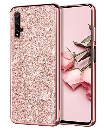 YINLAI Huawei Nova 5T Hülle,Honor 20 Hülle Glitter,Handyhülle Huawei Nova 5T/Honor 20 case Sparkle Bling Stoßfest Hard PC TPU Bumper Ultra Schlank Schutzhülle für Huawei Nova 5T/Honor 20,Roségold