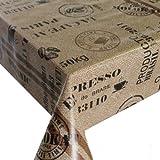 Wachstuch Wachstischdecke Tischdecke Kaffeesack Braun Beige Länge wählbar 140 x 100 cm abwaschbar Lebensmittelecht