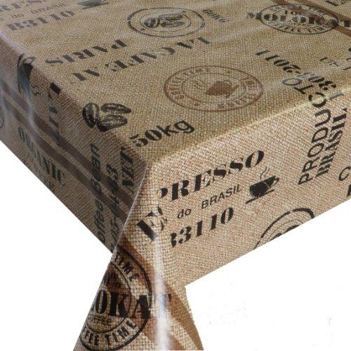 Wachstuch Wachstischdecke Tischdecke Gartentischdecke Kaffeesack Braun Beige Breite & Länge wählbar 120 x 160 cm Eckig abwaschbar Lebensmittelecht