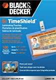Black + Decker TimeShield Thermal Laminating Pouches, ID Badge with Clips, 5 mil - 100 Pack of Horizontal Badges (LAMID5-100)