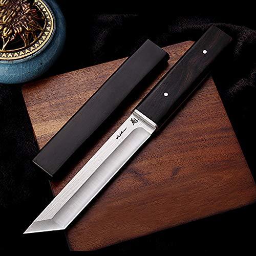 NedFoss Tanto Messer SONGTIAN, Japanisches Jagdmesser scharf, D2 Messer Tanto mit Scheide, 59-60HRC, Extra scharf