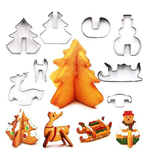 O-Kinee Emporte Pièces Noël 3D, Lot de 8 Forme Biscuit Noel, Emporte-pièces en Acier Inoxydable pour Décoration de Gâteau Fondant Biscuit Cookie Pâtisserie