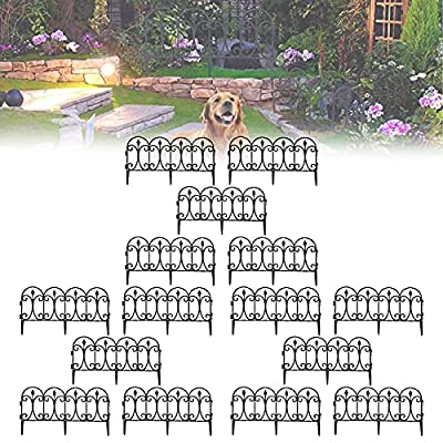 CHAOMIC Decorative Garden Fence White Black Folding Patio Fencing Patio Flower Bed Animal Barrier for Dog Outdoor Fences