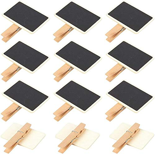 Juvale Mini Blackboard Clips - 12-Set Chalkboard Tag Signs, Wooden Message Board for Memo, Note Taking, Food Label, Party - Rectangle, 2.6 x 2.3 x 0.5 inches
