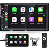 Apple Carplay Double Din Car Stereo, Rimoody 7 Inch Touchscreen Android Auto Car Radio Support Bluetooth FM Mirror Link for USB/TF/Aux-in SWC Head Unit MP5 + Backup Camera