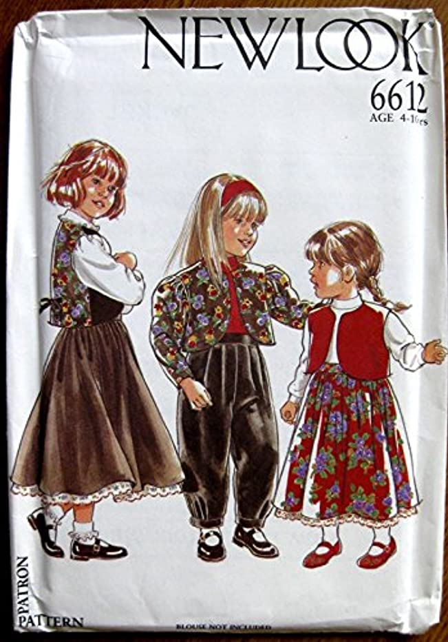 New Look Pattern 6612 Girls' Jacket, Vest, Skit and Pants Size 4-10 Yrs.