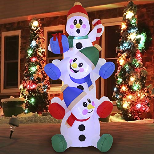 Christmas Inflatable Decoration 6 FT Snowman Inflatable with Build-in LEDs Blow Up Inflatables for Xmas Party, Home Indoor Outdoor Yard Garden Lawn Winter Decor.