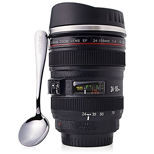 ANTVEE Camera Lens Coffee Mug with Spoon - gifts for photographers - 13.5 oz Stainless Steel Insulated