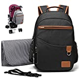 Myhozee Baby Changing Bag Backpack, Waterproof Baby Diaper Changing Bag Multi-Function Nappy Back Pack Large Travel Rucksack with Changing Mat and Stroller Strip for Moms & Dad (Black)