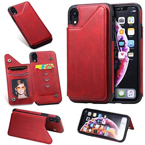 Careynoce iPhone Xr Coque,Cuir de Veau Couleur unie Cuir PU Portefeuille Conception Flip avec Fonction Support Housse Etui Cuir Coque Pour iPhone Xr - Rouge